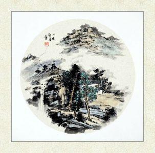 山水画镜片
