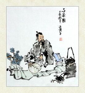 古典人物画品茶图