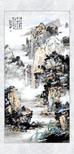 碧涧轻云连水幕, 丹崖老树入烟迷。