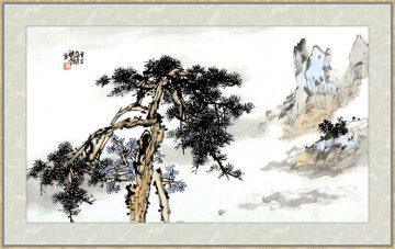 国画山水青松